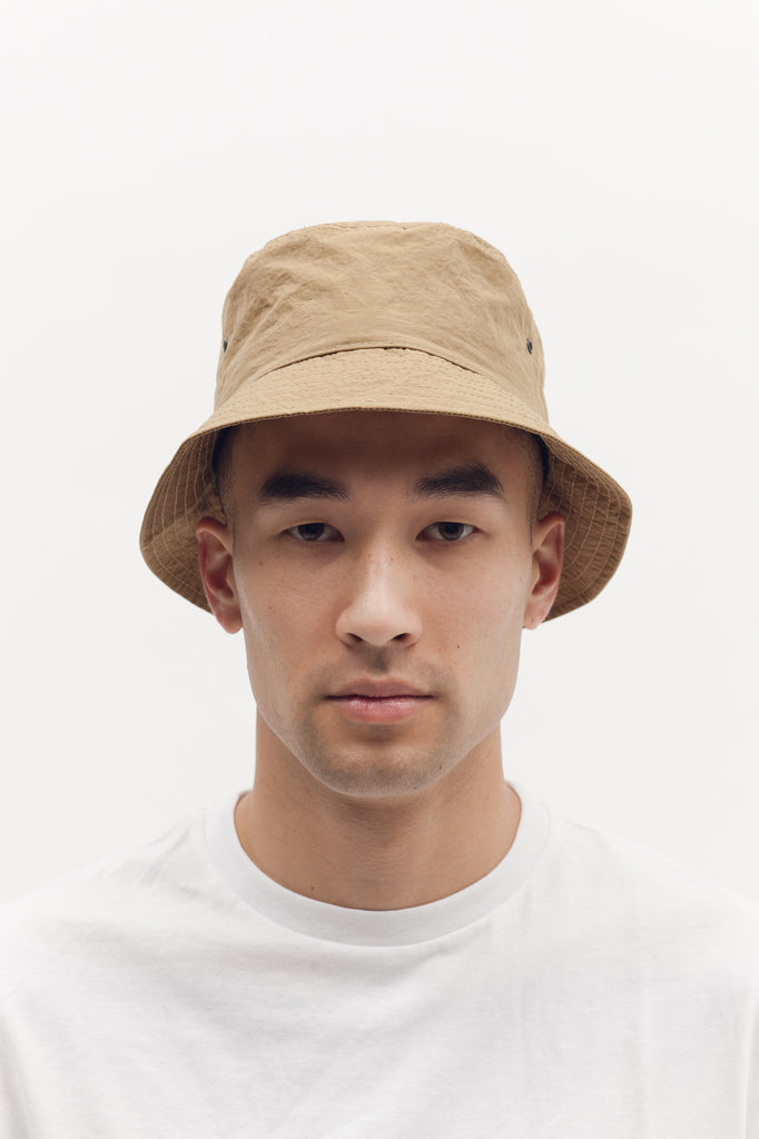 Structured Nylon Bucket Cap - Beige