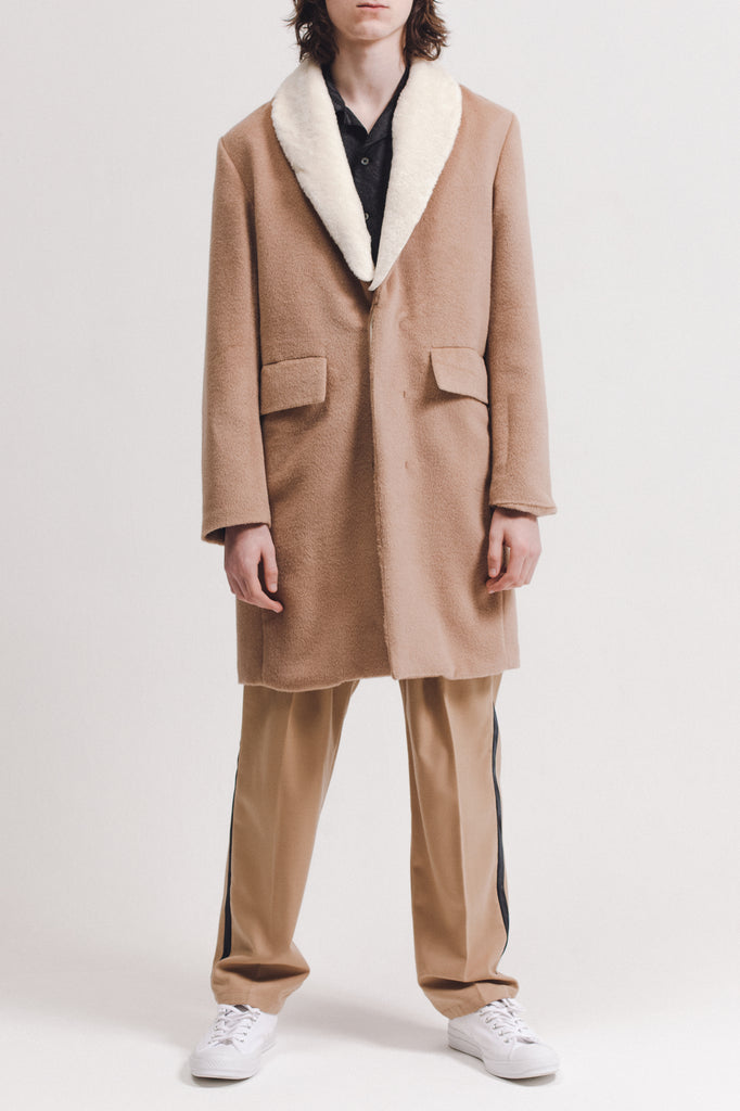 Wool Overcoat With Shearling - Tan - [product _vendor]