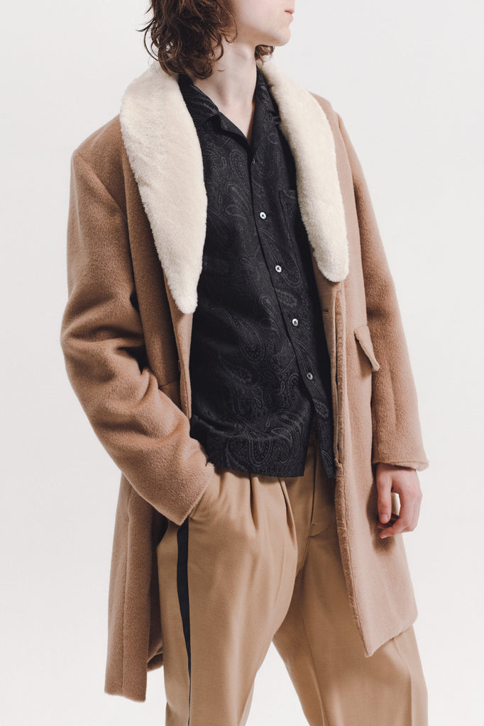 Wool Overcoat With Shearling - Tan