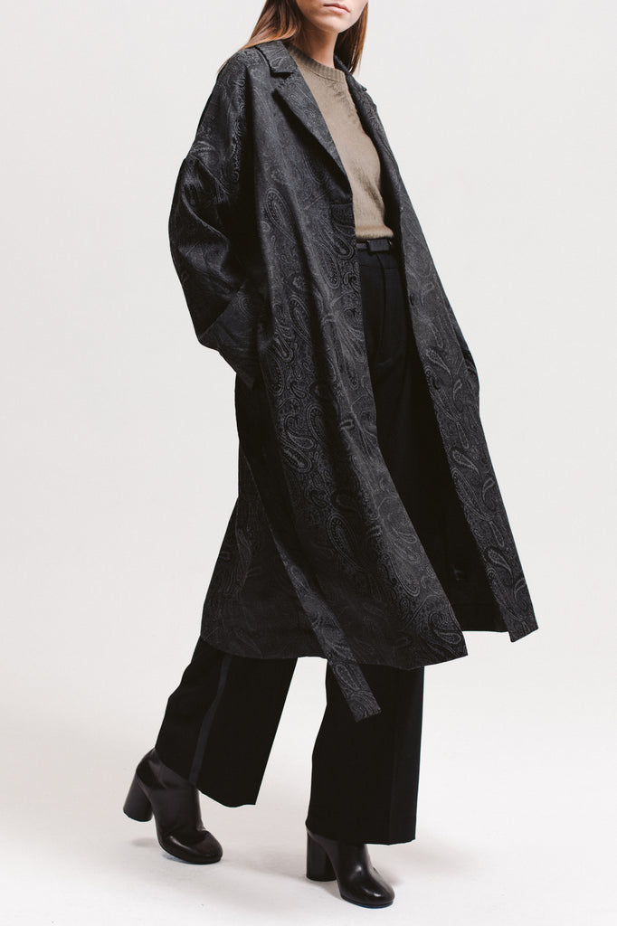 Paisley Overcoat - Black