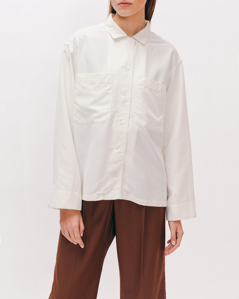 Rayon Silk LS Shirt - Off White - [product _vendor]