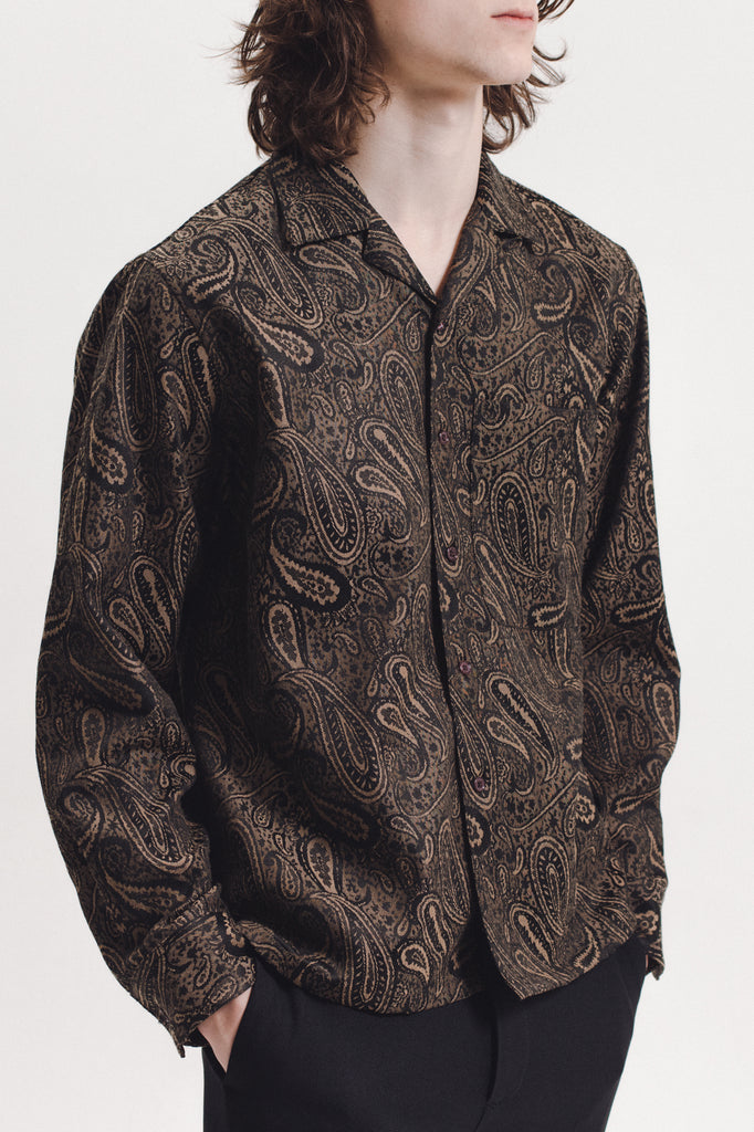 Paisley LS  Shirt - Brown