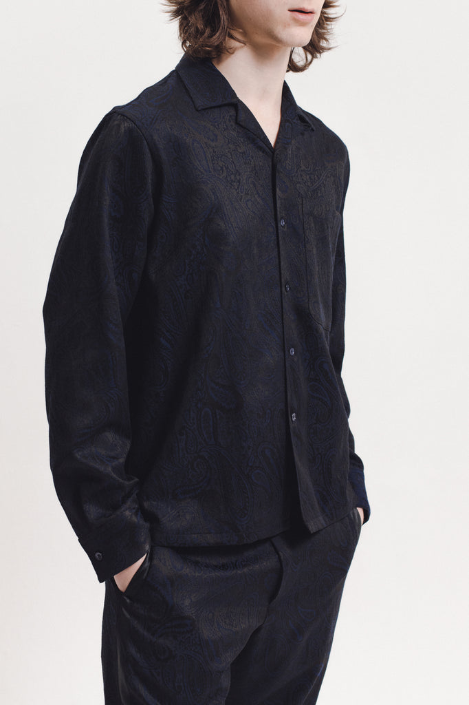 Paisley LS  Shirt - Navy - [product _vendor]