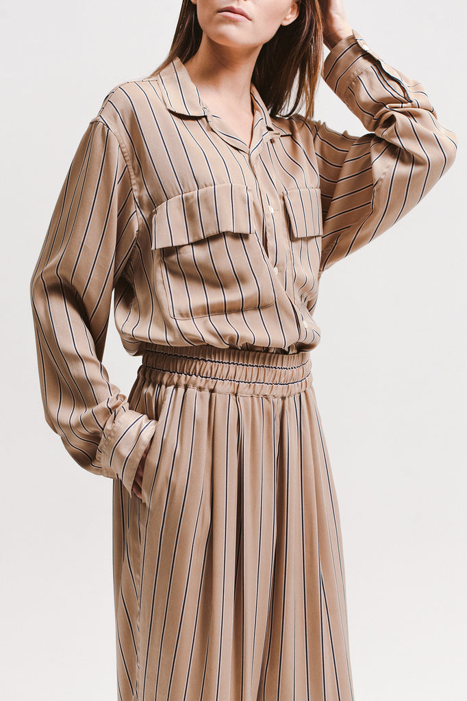 Stripe Rayon Shirt - Beige - [product _vendor]