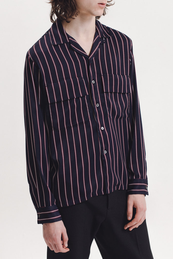 Stripe Rayon Shirt - Navy