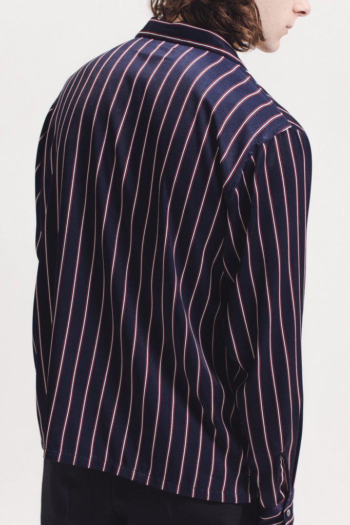 Stripe Rayon Shirt - Navy - [product _vendor]