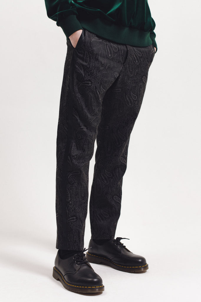 Wool Paisley Trouser - Black - [product _vendor]