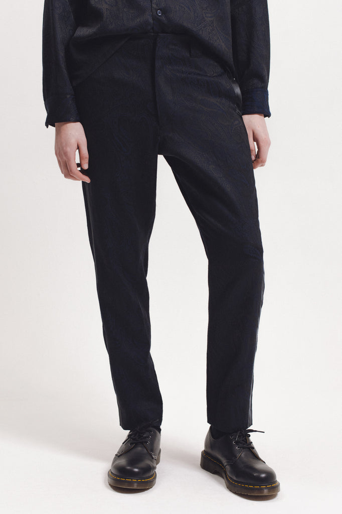 Wool Paisley Trouser - Navy - [product _vendor]