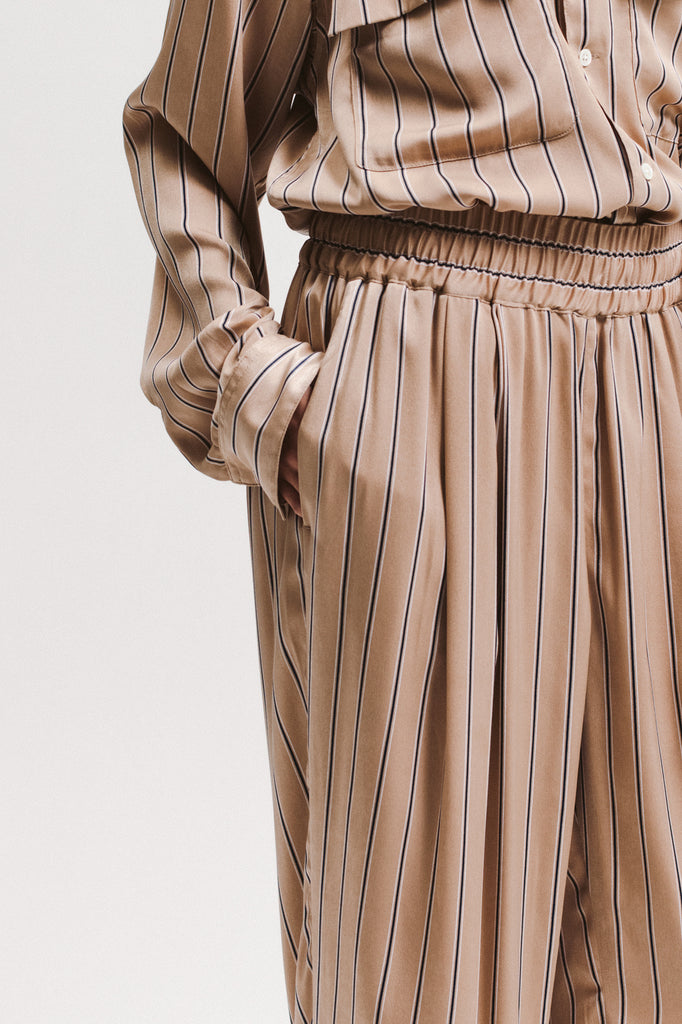 Wide Stripe Trouser - Beige - [product _vendor]