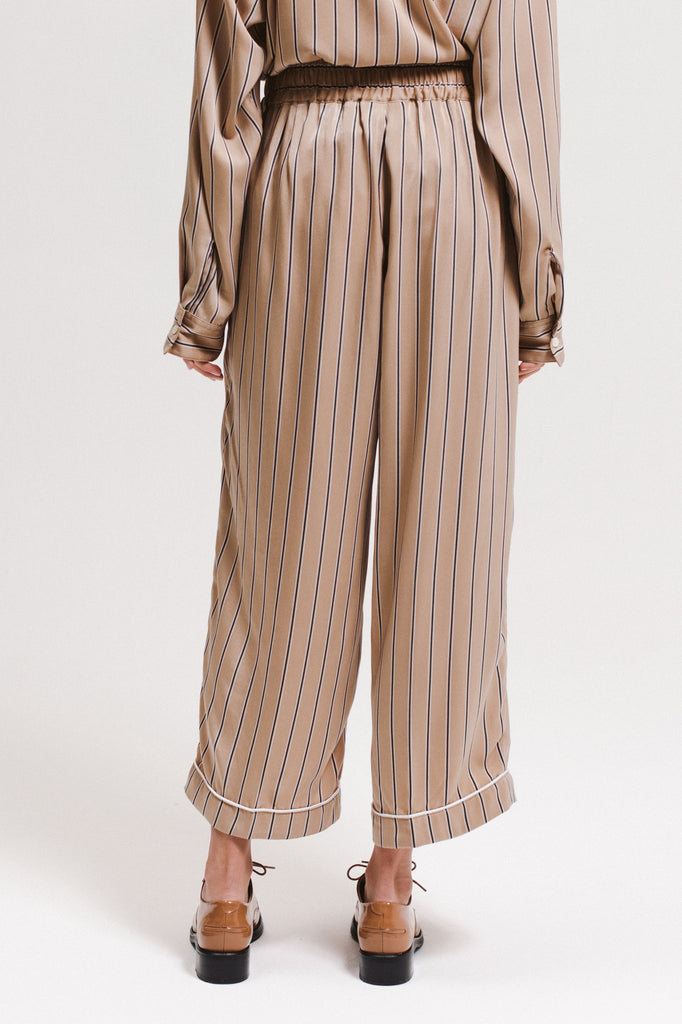 Wide Stripe Trouser - Beige