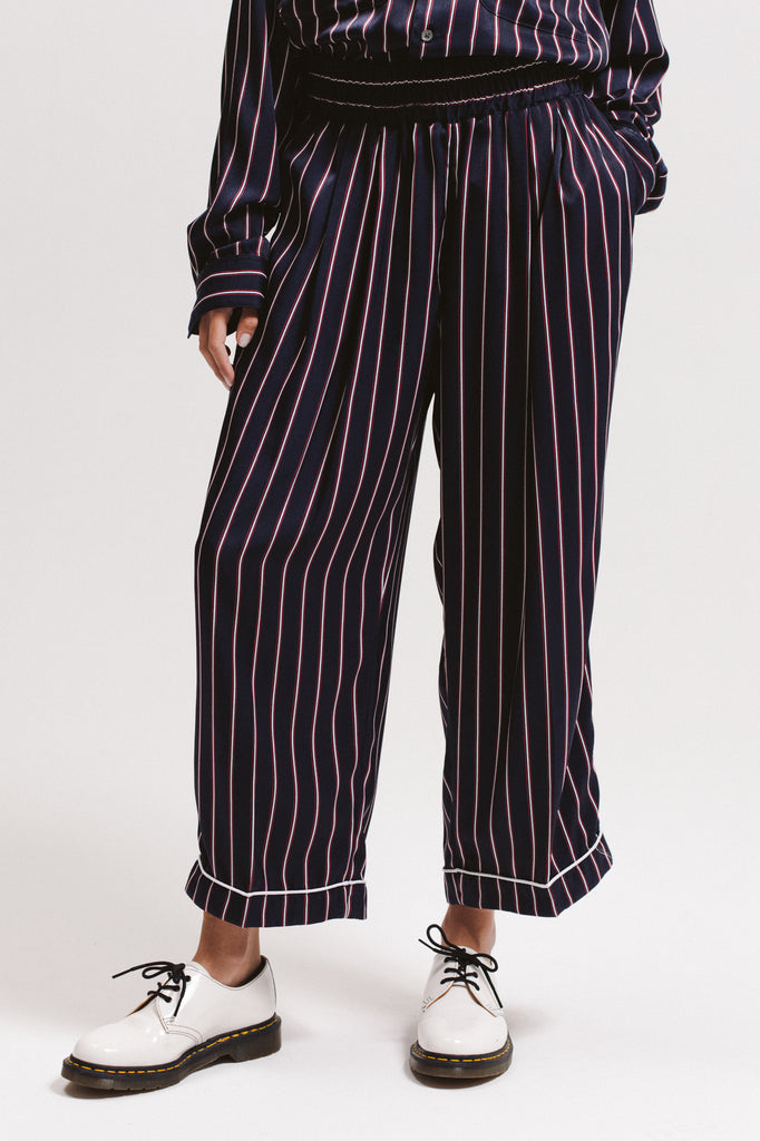 Wide Stripe Trouser - Navy