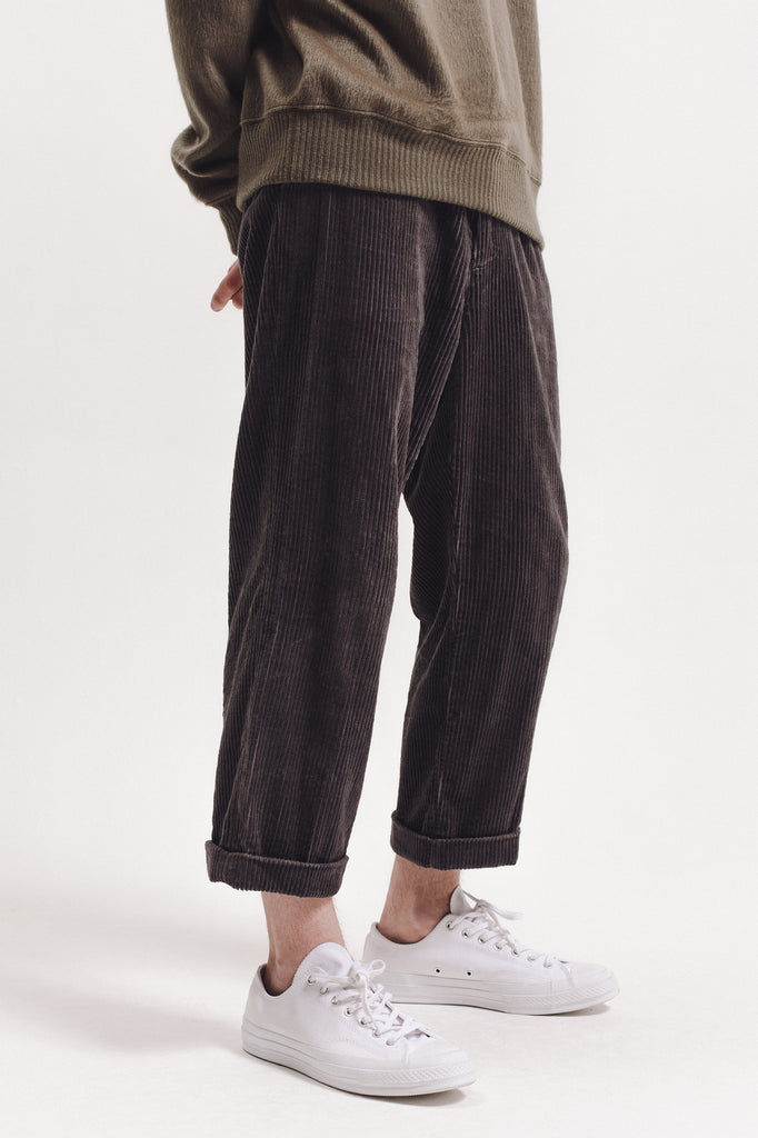 Pleated Cord Trouser - Grey
