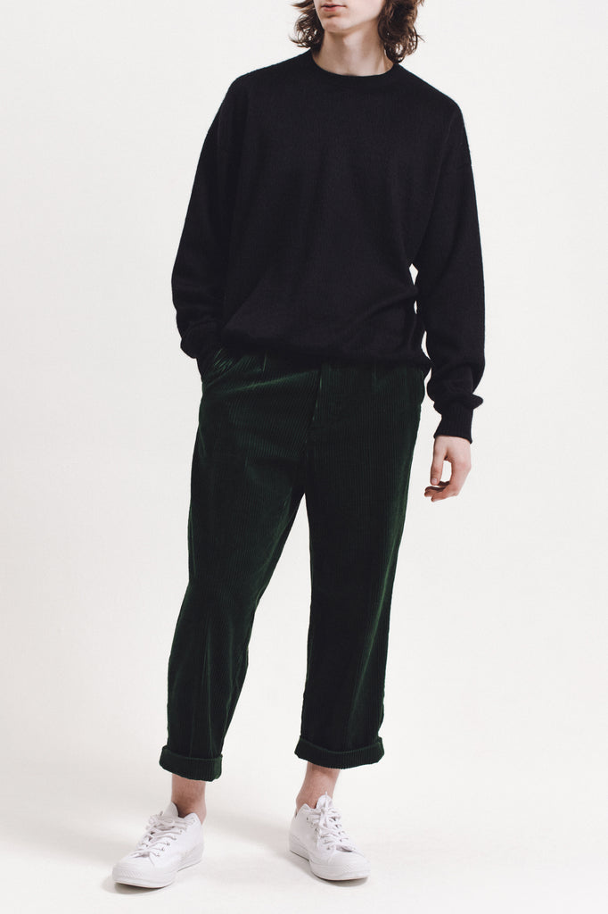 Pleated Cord Trouser - Pine - [product _vendor]