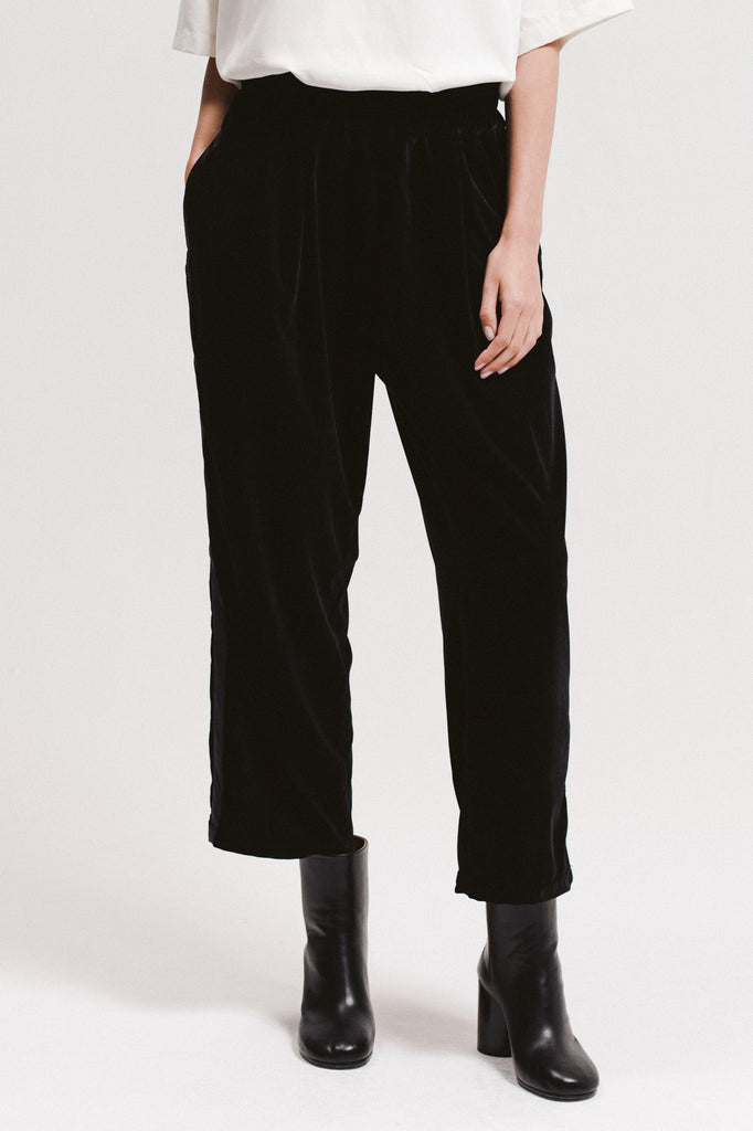 Velvet Crop Trouser - Black - [product _vendor]