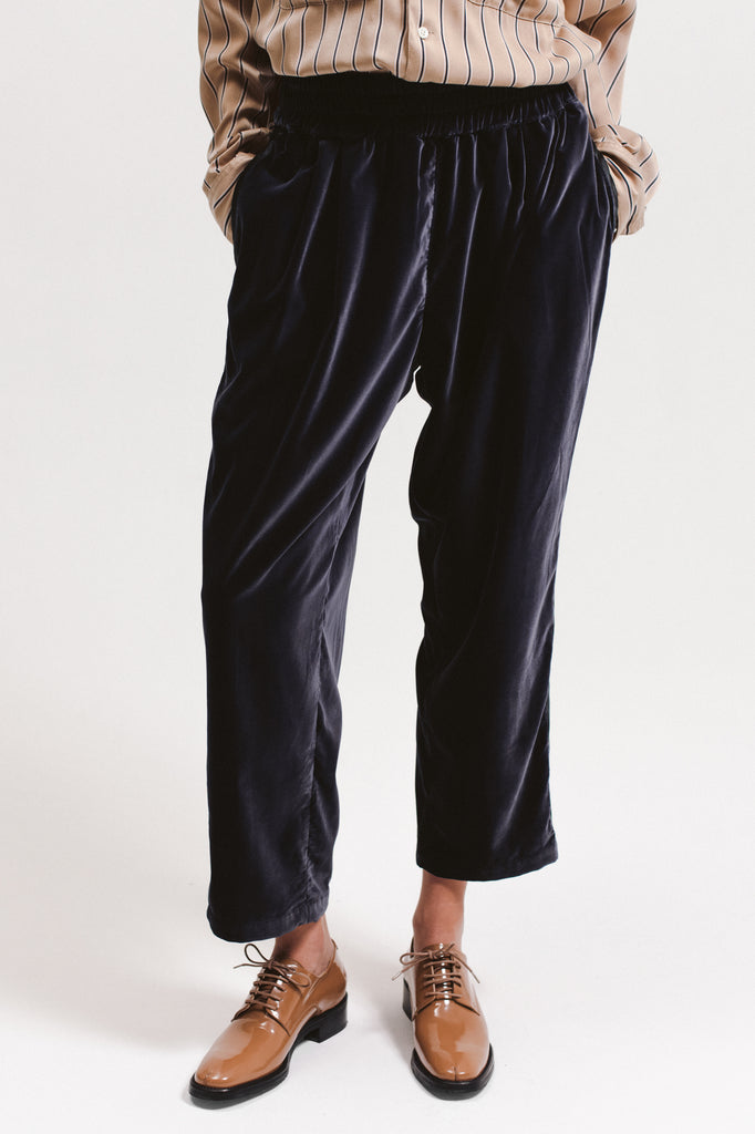 Velvet Crop Trouser - Navy - [product _vendor]