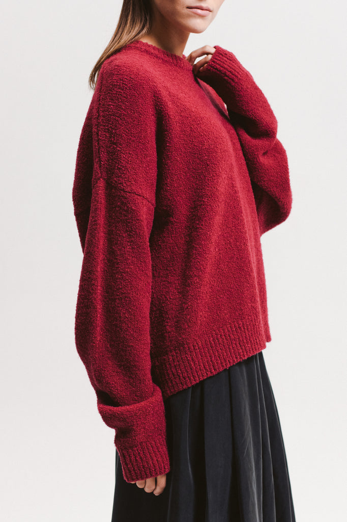 Oversized Piled Sweater - Berry