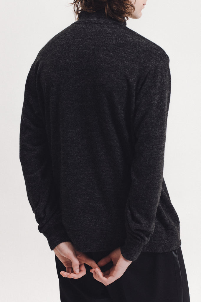 Brush Mock Neck - Charcoal