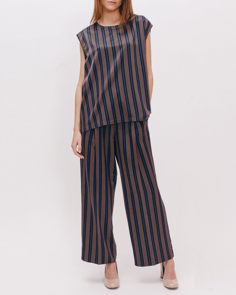 Stripe Rayon Sleeveless Blouse - Navy - [product _vendor]