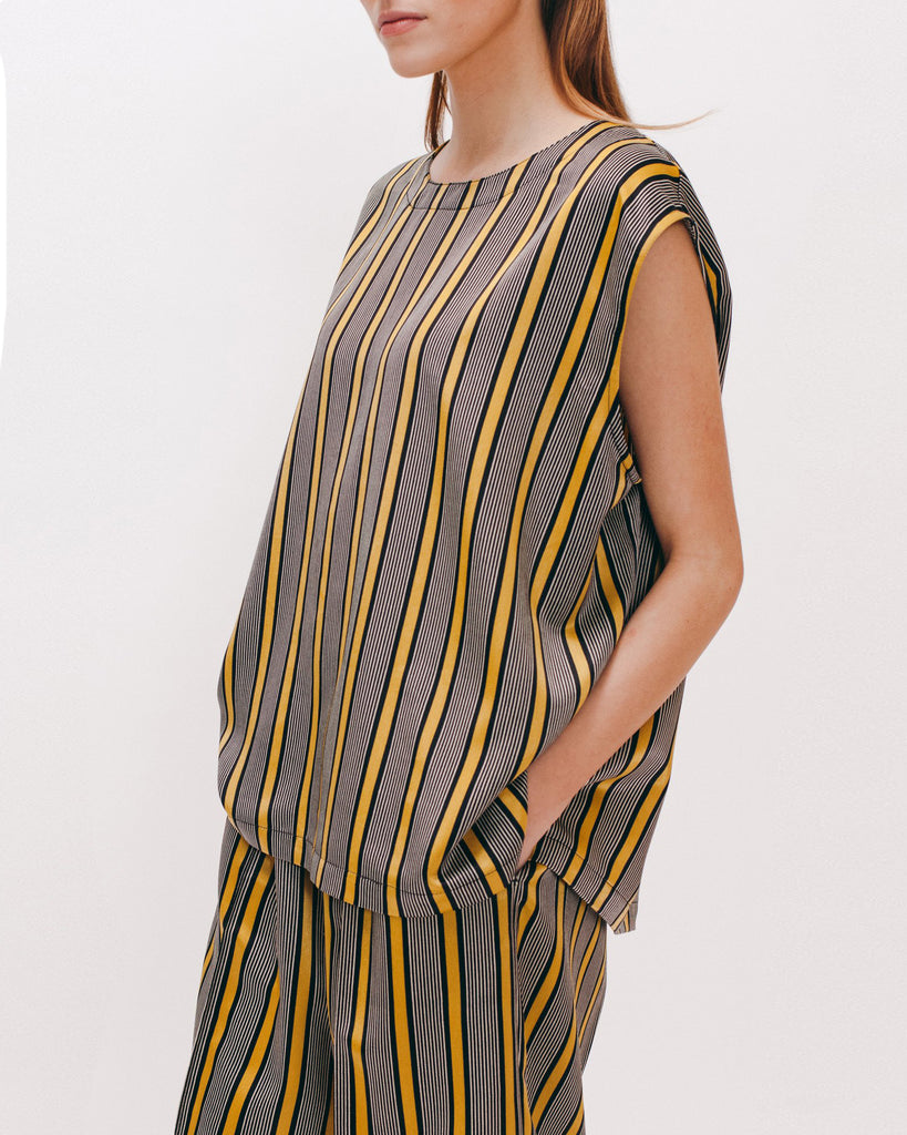 Stripe Rayon Sleeveless Blouse - Beige - [product _vendor]
