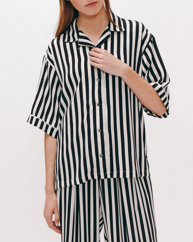 Pajama Shirt - Black Stripe - [product _vendor]