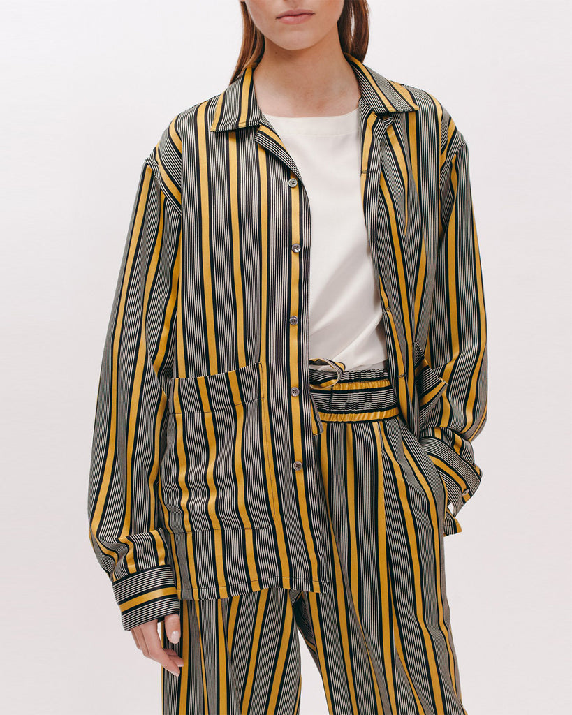 Stripe Rayon LS Shirt - Beige - [product _vendor]