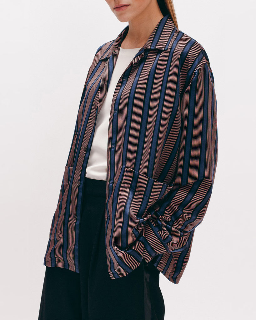Stripe Rayon LS Shirt - Navy - [product _vendor]
