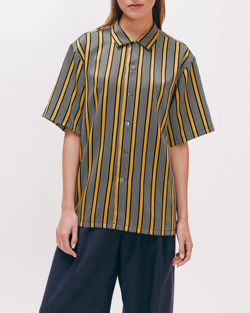 Stripe Rayon SS Shirt - Beige - [product _vendor]