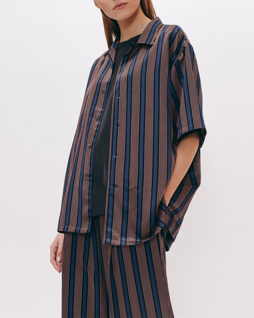 Stripe Rayon SS Shirt - Navy - [product _vendor]