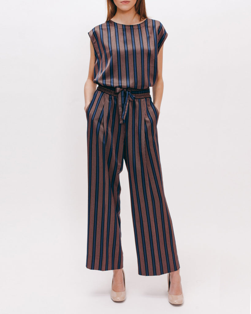 Stripe Rayon Long Trouser - Navy - [product _vendor]