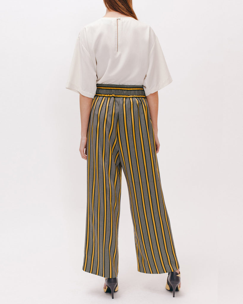 Stripe Rayon Long Trouser - Beige - [product _vendor]