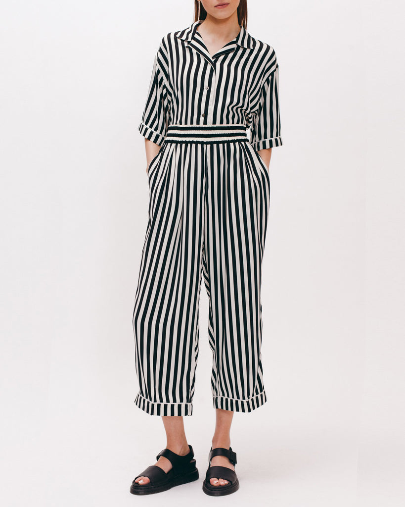 Wide Crop Trouser - Black Stripe - [product _vendor]