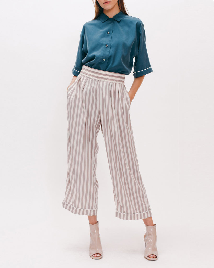 Wide Crop Trouser - Grey Stripe - [product _vendor]