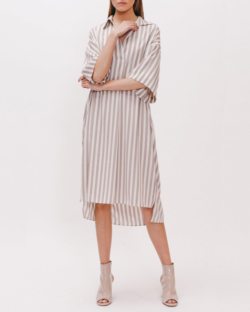 Shirt Dress - Grey Stripe - [product _vendor]