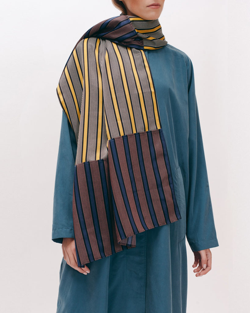 Stripe Rayon Over Sized Scarf - Beige Navy - [product _vendor]