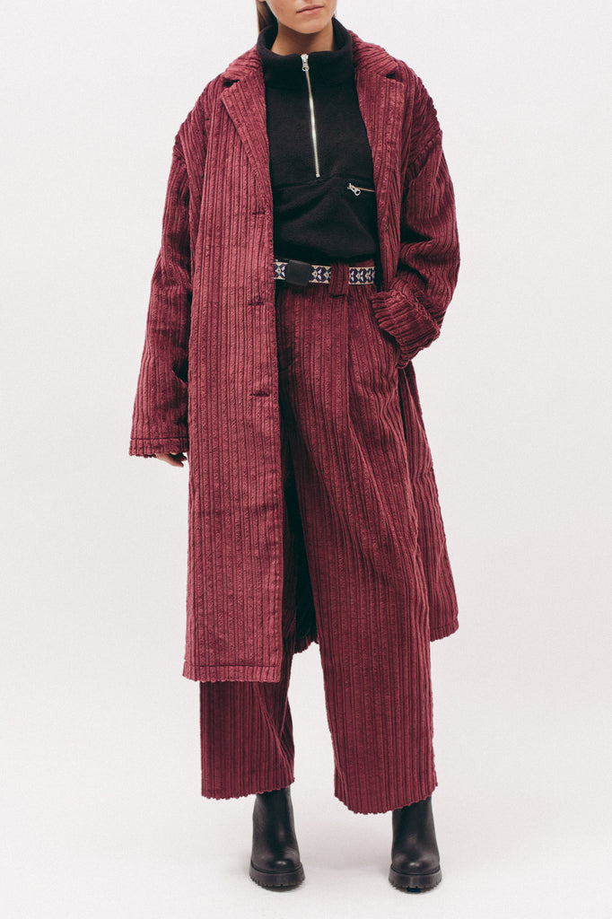 Cord Overcoat- Dark Rose