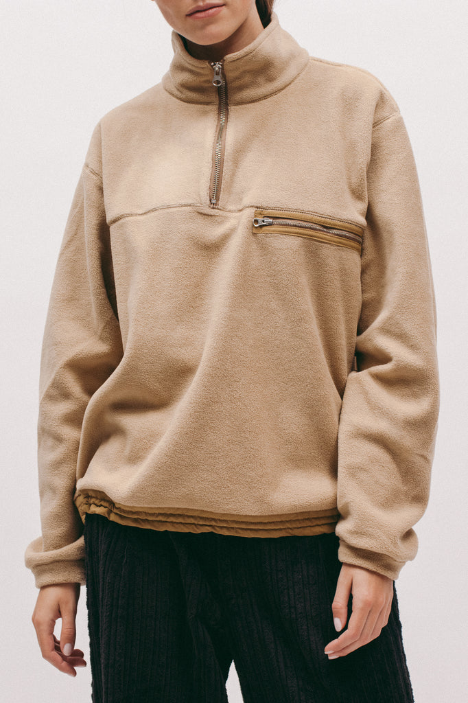 Polar Fleece Popover- Tan