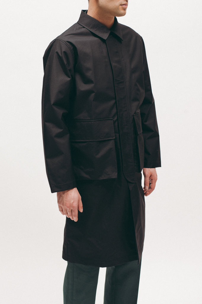 Hooded Mac Coat - Black