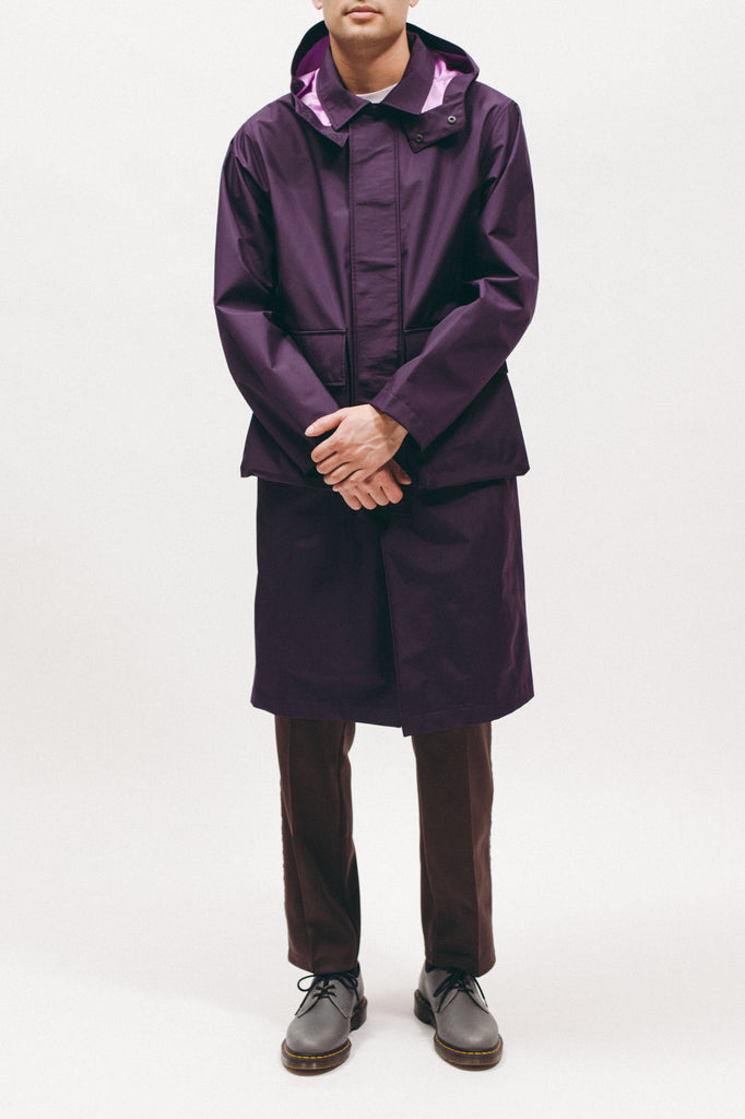 Hooded Mac Coat - Plum - [product _vendor]