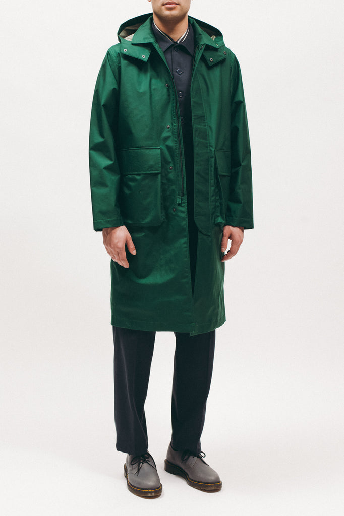 Hooded Mac Coat - Evergreen