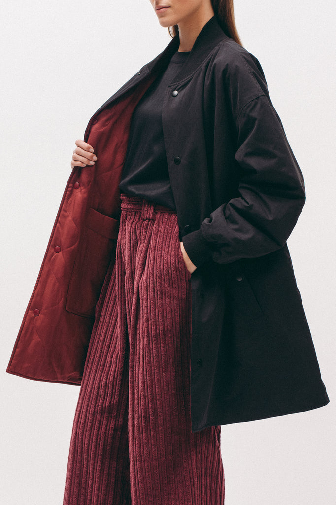 Long Bomber - Black/Burgundy