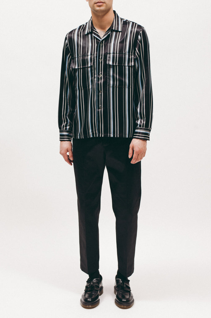 Stripe Rayon Shirt - Black - [product _vendor]