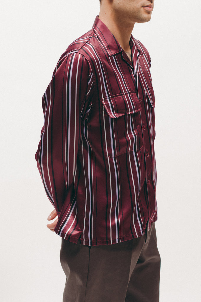 Stripe Rayon Shirt - Dark Rose