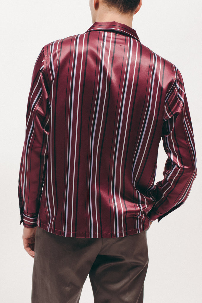 Stripe Rayon Shirt - Dark Rose - [product _vendor]