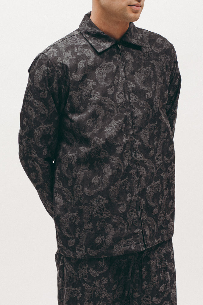 Paisley Zip Shirt - Charcoal