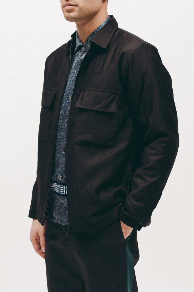 Quilted Moleskin LS Shirt - Black
