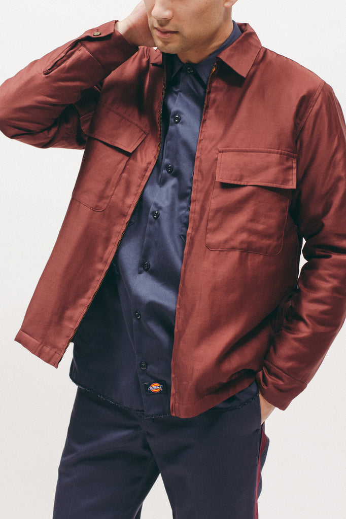 Quilted Moleskin LS Shirt - Burgundy - [product _vendor]