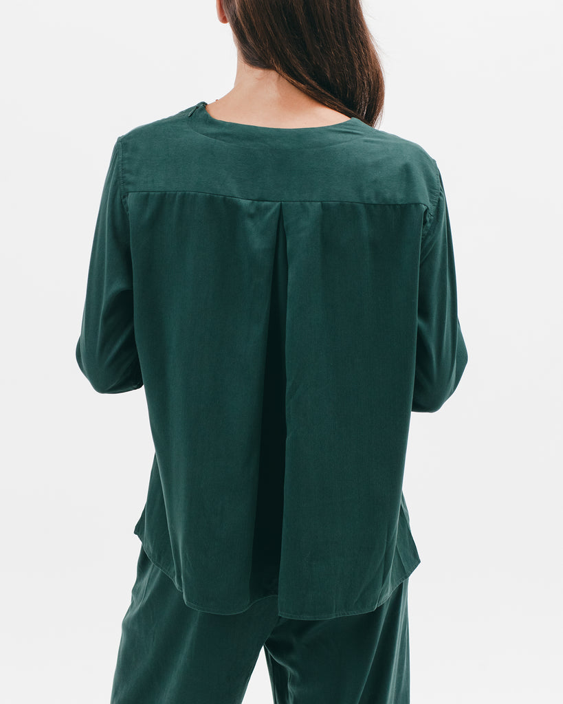 Pleated LS Overshirt - Emerald - [product _vendor]