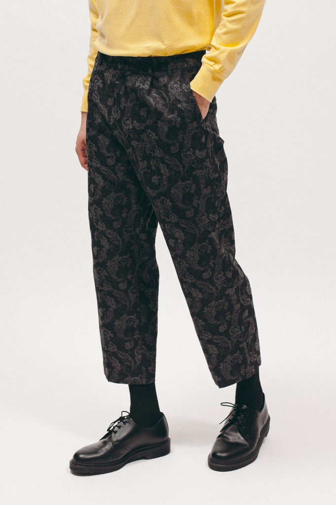 Pleated Paisley Trouser - Charcoal - [product _vendor]