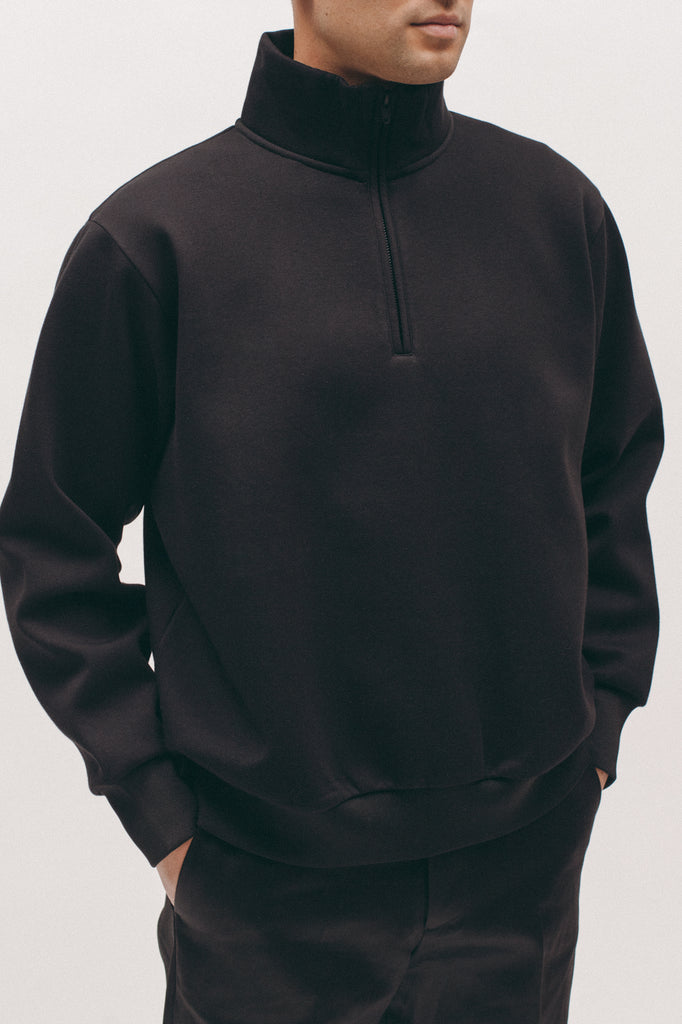 Zip Mock Poly Fleece - Black - [product _vendor]