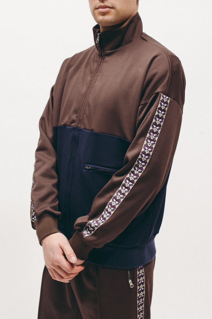 Track Jacket - Brown/Navy